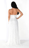Fancy Pants White Lace Sleeveless Spaghetti Strap V Neck High Slit Bodycon Maxi Dress - 4 Colors Available