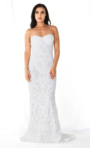 Dedicated To Love White Sequin Lace Strapless Bustier Fit And Flare Maxi Dress