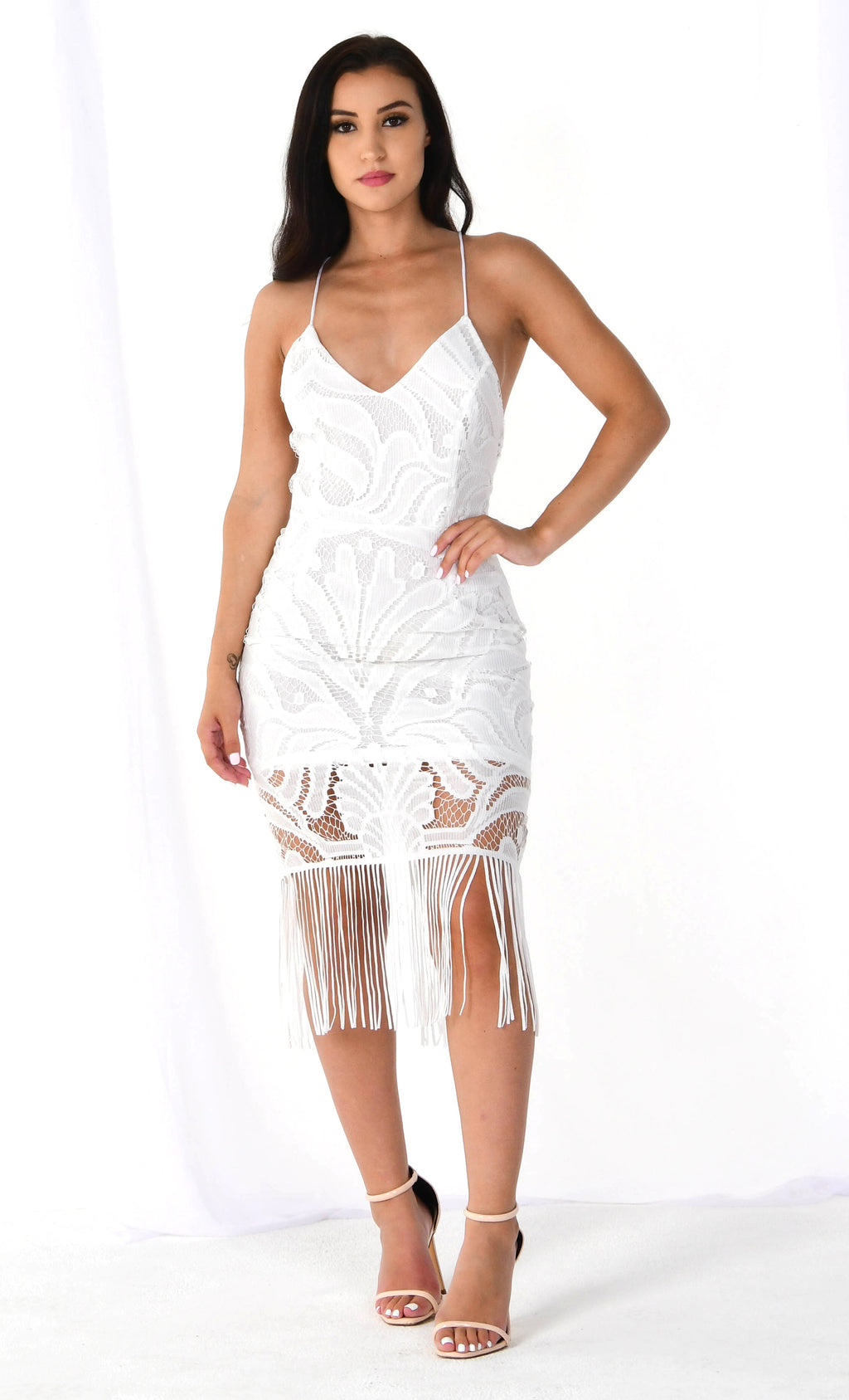 It's Your Move White Sleeveless Spaghetti Strap Lace V Neck Tassel Fringe Crisscross Back Bodycon Midi Dress - 4 Colors Available