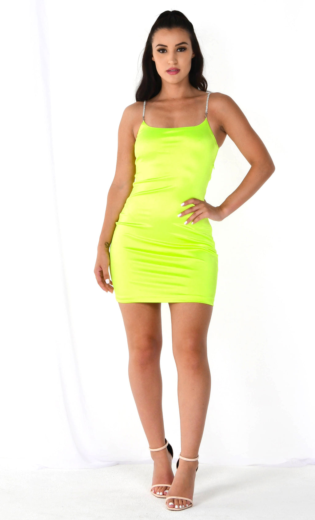 Right Moves Neon Lime Sleeveless Satin Rhinestone Strap Scoop Neck Bodycon Mini Dress - 2 Colors Available