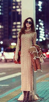 Khaki Beige Turtleneck Long Sleeve Knitted Maxi Sweater Dress - Sold Out