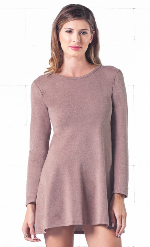 Indie XO Keeping it Casual Light Brown O-Neck Long Sleeve Skater Circle A Line Flared Tunic Mini Dress - Just Ours