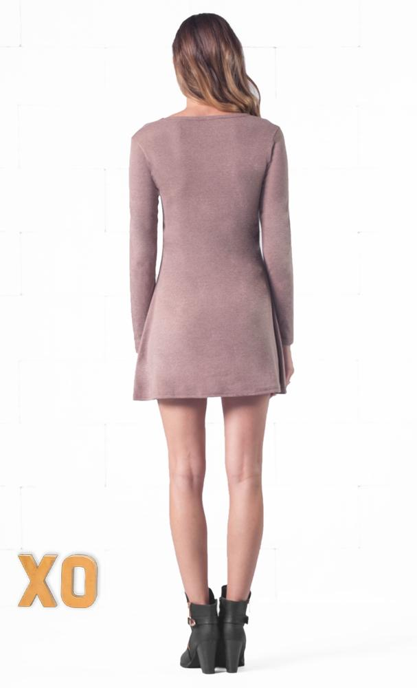 Indie XO Keeping it Casual Light Brown O-Neck Long Sleeve Skater Circle A Line Flared Tunic Mini Dress - Just Ours - Sold Out
