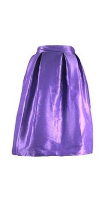 Lavender Purple Pearlescent Bell Flare A Line Pleated Skater Midi Skirt - Sold Out