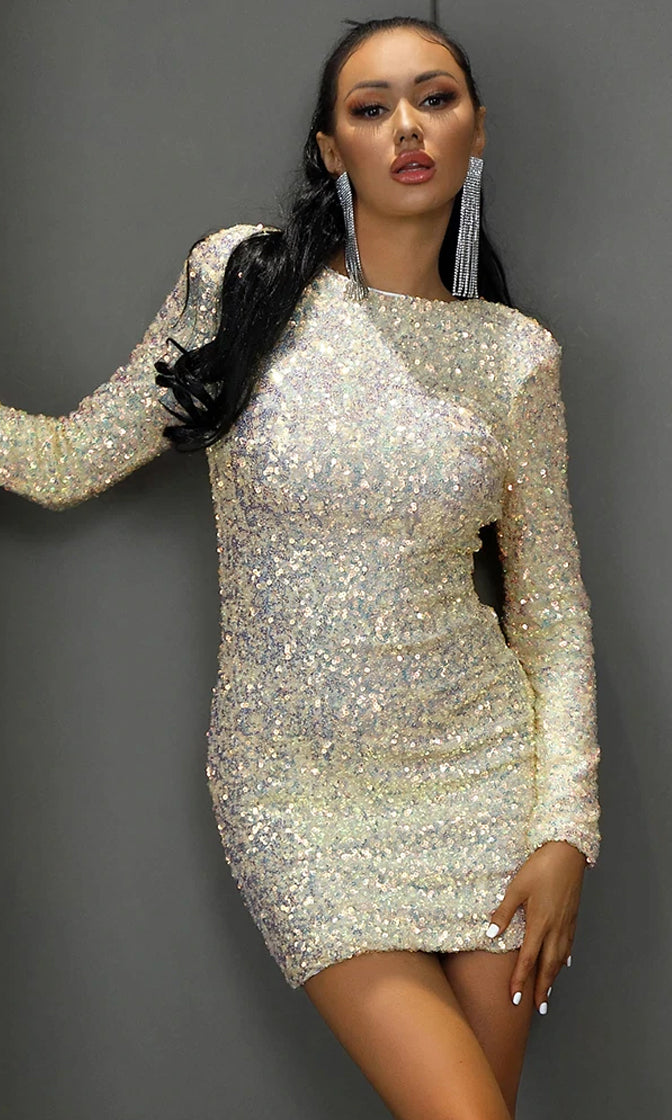Ice Queen White Yellow Gold Padded Shoulder Sequin Long Sleeve Scoop Neck Backless Open Back Bodycon Mini Dress