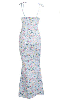 Rosy Attitude Light Blue Floral Pattern Sleeveless Spaghetti Strap Tie Straight Neck Casual Maxi Dress