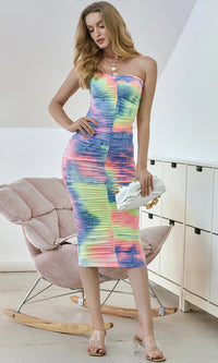 Festival Fever Multicolor Tie Dye Pattern Strapless Ruched Casual Bodycon Midi Dress