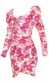 Kiss Me Twice White Pink Rose Floral Pattern Long Sleeve Ruffle Puff Shoulder V Neck Bodycon Mini Dress