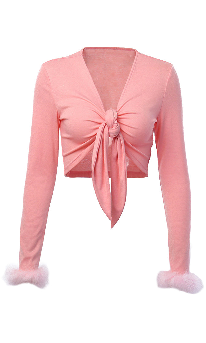Piece Of Candy Pink Long Sleeve Feather Cuff Plunge V Neck Tie Front Crop Top