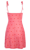 Wish Away Pink Red Heart Pattern Sleeveless Spaghetti Strap Tie Shoulder V Neck A Line Flare Casual Mini Dress