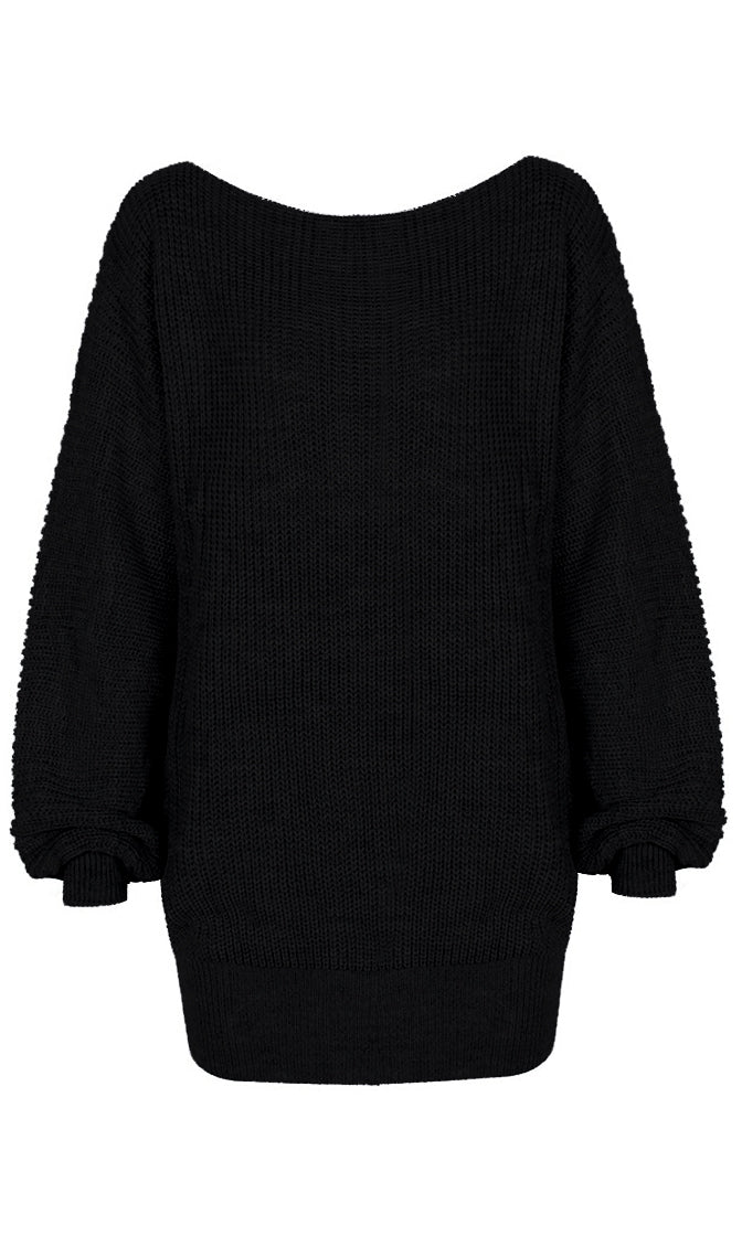 Driving Me Forward Long Lantern Sleeve Off The Shoulder Knit Sweater Mini Dress