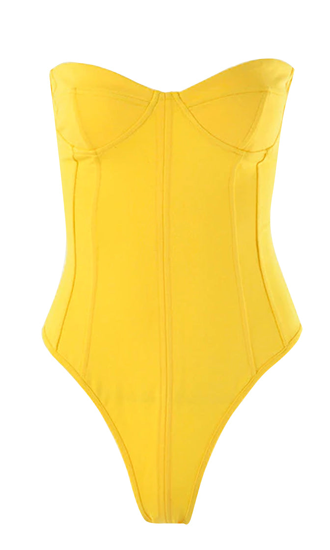 On Command Yellow Strapless Bustier V Neck Thong Bodysuit Top
