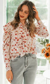 She Loves You Beige Red Floral Pattern Chiffon Long Sleeve Puff Shoulder Bow Tie Neck Blouse Top - Sold Out