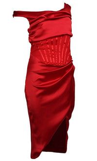 All About Love Red Sleeveless One Shoulder Draped Bodycon Midi Dress