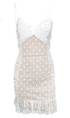 Evening Stroll White Gold Polka Dot Pattern Sleeveless Spaghetti Strap V Neck Split Chiffon Maxi Dress