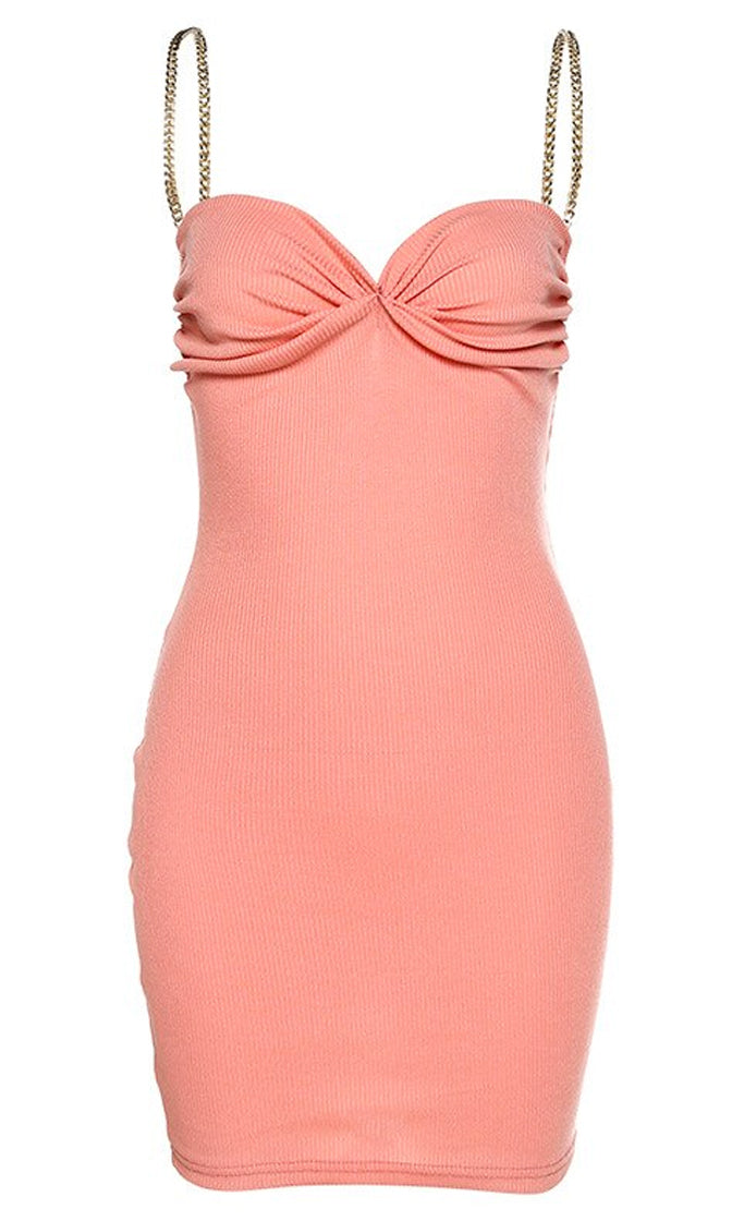 Watch Me Walk Coral Ribbed Chain Strap Sleeveless V Neck Ruched Bodycon Mini Dress