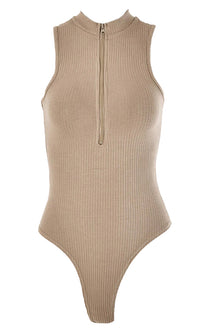 Taking A Dive Ribbed Sleeveless Mock Neck Front Zip Thong Bodysuit Top