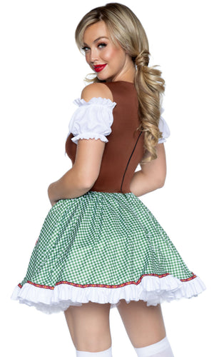 One More Round Brown Green Plaid Pattern Short Sleeve Off The Shoulder Flare A Line Mini Dress Halloween Costume