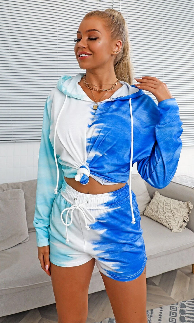 Color Me Comfy Blue Multicolor Tie Dye Pattern Long Sleeve Pullover Hood Elastic Waist Short Two Piece Romper