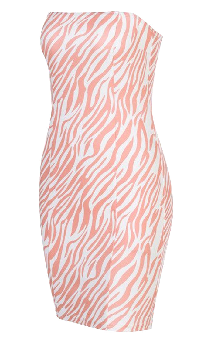 My Playbook Khaki White Zebra Pattern Sleeveless Spaghetti Strap Square Neck Bodycon Tube Mini Dress