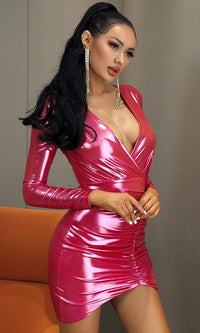 Dancing All Night Pink Metallic Lamé Long Sleeve Cross Wrap Plunging V Neck Ruched Bodycon Mini Dress - Sold Out