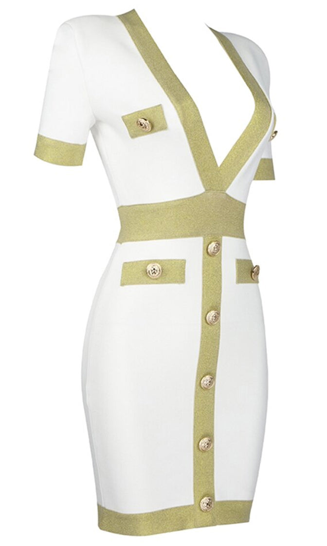 Know Better White Button Short Sleeve Plunge V Neck Bandage Bodycon Mini Dress