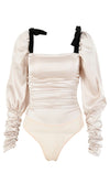 Flirting With You White Black Long Puff Sleeve Ruched Bow Straps Square Neck Bodysuit Top