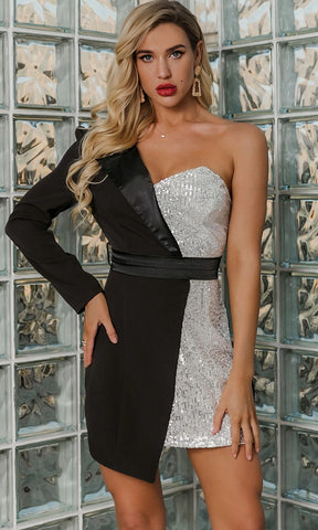 High Standards Gold Black Sequin One Shoulder Long Sleeve Cape Cut Out Contrast Silver Bustier Bodice Tulip Wrap Asymmetrical Hem Bodycon Two Piece Mini Dress