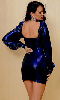 Moonlight Sonata Long Sleeve Metallic Navy Blue Lamé Bustier Sweetheart Neck Puff Shoulder Bodycon Mini Dress