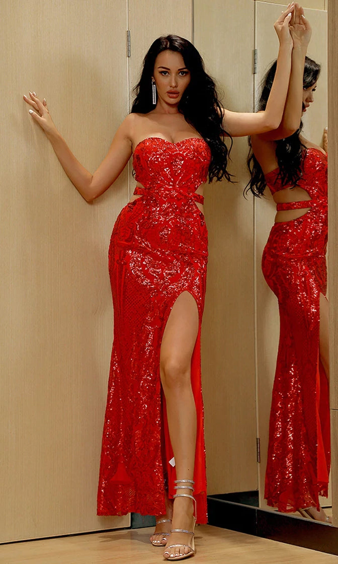 Changing The Game Red Geometric Pattern Sequin Strapless Sweetheart Neck Cut Out Sides Backless High Slit Maxi Dress