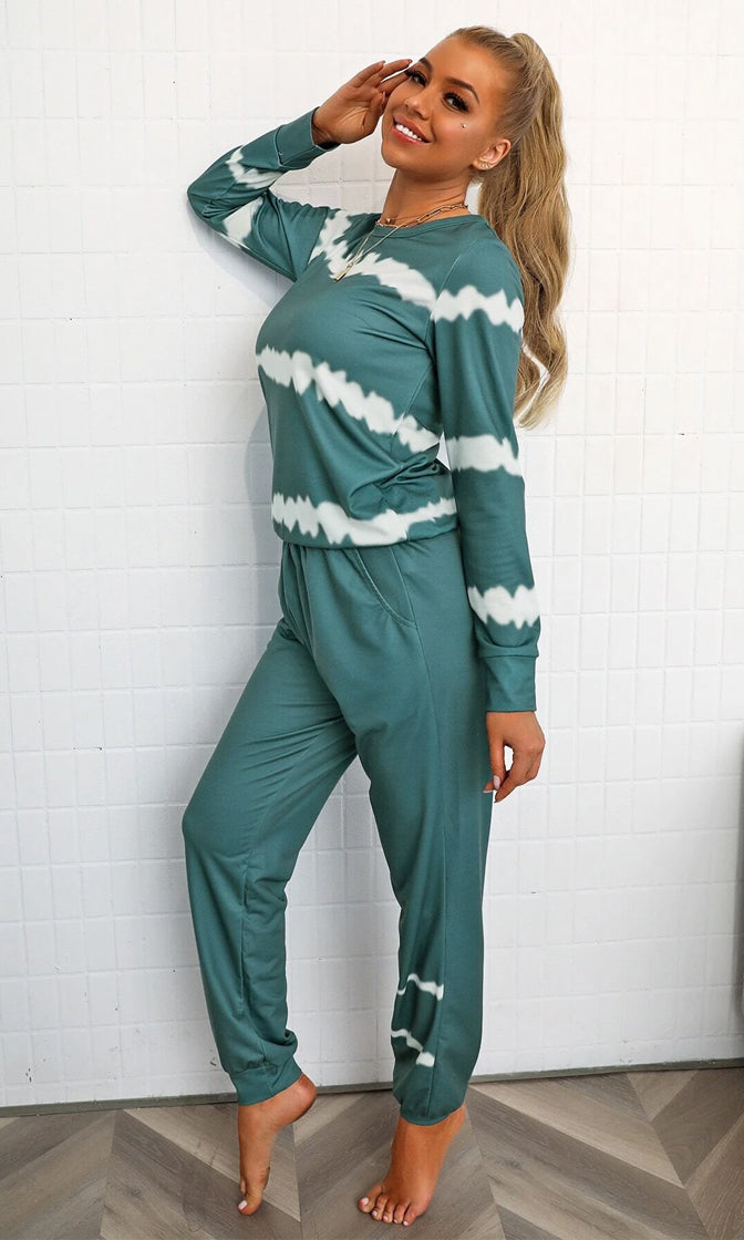 Totally Chill Green Tie Dye Pattern Long Sleeve Round Neck Top Elastic Waist Two Piece Jumpsuit Loungewear