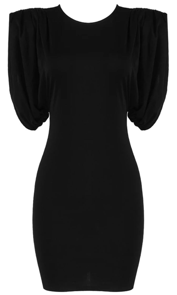 With Or Without You Black Muscle Statement Shoulder Ruched Sleeveless Bodycon Tee Shirt Mini Dress