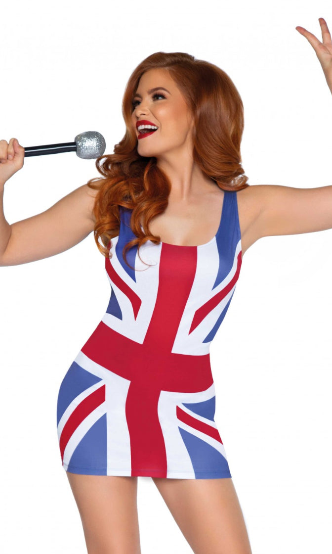 Shag Tonight Blue Red White Union Jack British Flag Sleeveless Scoop Neck Bodycon Mini Dress Halloween Costume