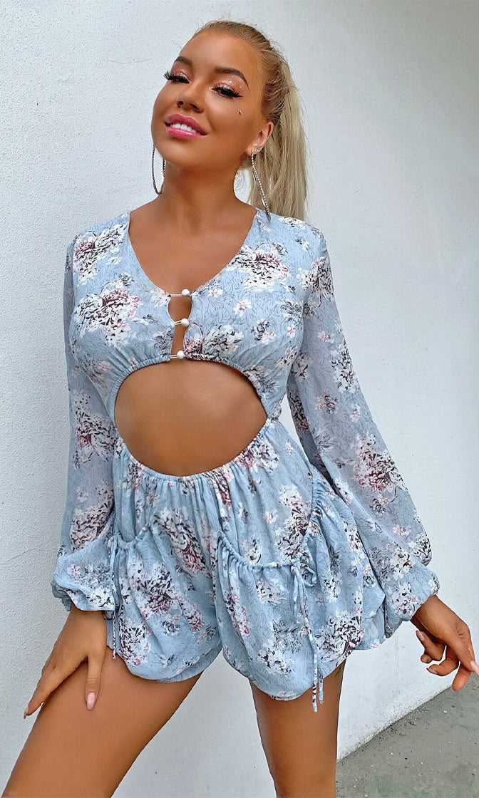 Sandy Cove Light Blue Floral Long Lantern Sleeve V Neck Button Cut Out Waist Short Romper Playsuit