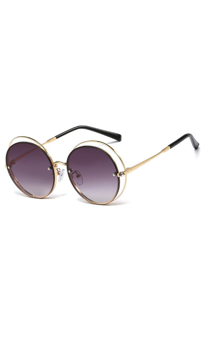Summer Girl Round Wire Frame Cut Out Sunglasses - 5 Colors Available