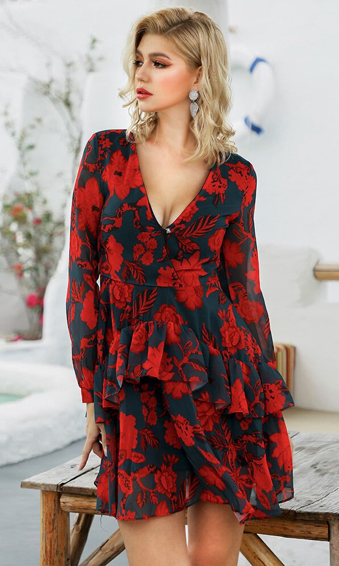 Pure Devotion Black Red Rose Floral Pattern Chiffon Long Sleeve V Neck Ruffle Flare A Line Casual Mini Dress