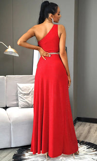 Big Thrill Red One Shoulder Sleeveless Glitter Cross Wrap Cut Out Front Slit Maxi Dress