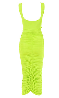 Crush On You Pink Sleeveless Square Neck Scoop Back Ruched Bodycon Midi Dress - 9 Colors Available