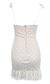 Be My Plus One White Polka Dot Pattern Sheer Mesh Sleeveless Spaghetti Strap Ruffle V Neck Bodycon Mini Dress