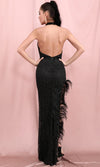 Simply Mysterious Black Glitter Feather Sleeveless Halter Neck Backless Cut Out Side Split Bodycon Maxi Dress
