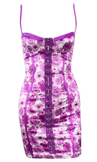 Reckless Intentions Floral Pattern Sleeveless Spaghetti Strap V Neck Bustier Hook And Eye Bodycon Mini Dress