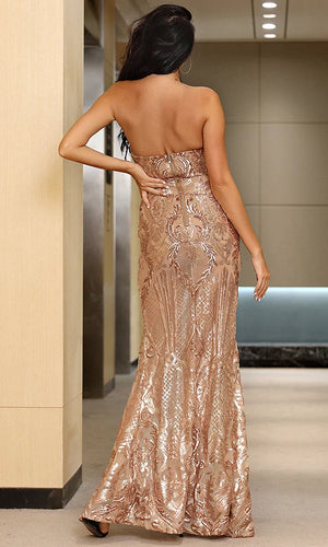 Sparkle Baby Nude Gold Geometric Sequin Geometric Pattern Strapless Mesh Panel Center Split Slit Front Maxi Dress