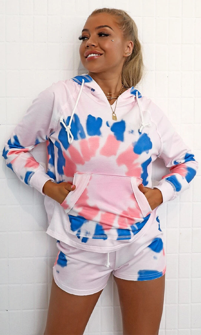 Color Me Comfy Multicolor Pastel Tie Dye Pattern Long Sleeve Pullover Hood Elastic Waist Short Two Piece Romper