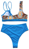 Catch The Breeze Animal Pattern Sleeveless V Neck Double Strap Crop Top High Waist Two Piece Swimsuit Bikini - 2 Colors Available