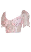 Turn On The Charm Pink Floral Pattern Sheer Mesh Short Puff Sleeve V Neck Bustier Crop Top Blouse