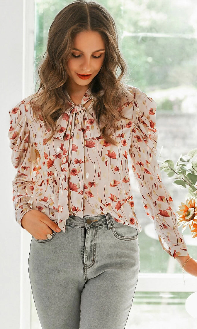 She Loves You Beige Red Floral Pattern Chiffon Long Sleeve Puff Shoulder Bow Tie Neck Blouse Top