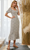 So True Brown Rose Gold Glitter Short Sleeve Overlay Flounce Sheer Mesh Crew Neck Maxi Dress