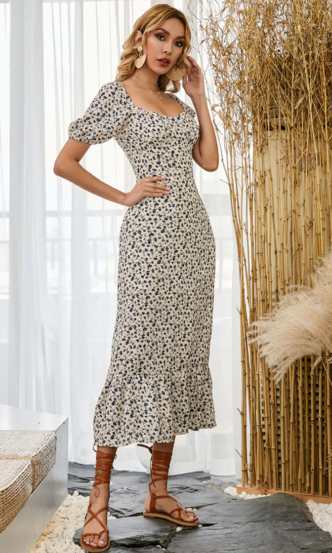 Making Hearts Race Beige Floral Pattern Short Puff Sleeve V Neck Ruffle Bodycon Casual Midi Dress