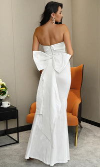 Belle Of The Ball White Taffeta Strapless Folded Bodice Bow Back Slit Maxi Dress Evening Gown