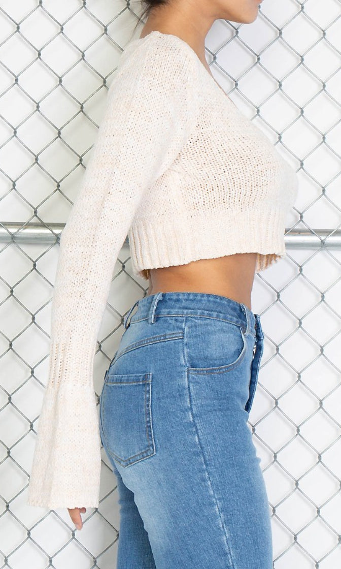 Take My Time Beige Long Bell Sleeve V Neck Crop Pullover Sweater (Pre-Order)